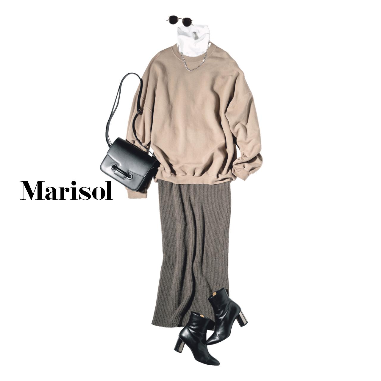40代ファッション タートルネック×スウェット×リブニットスカートコーデ