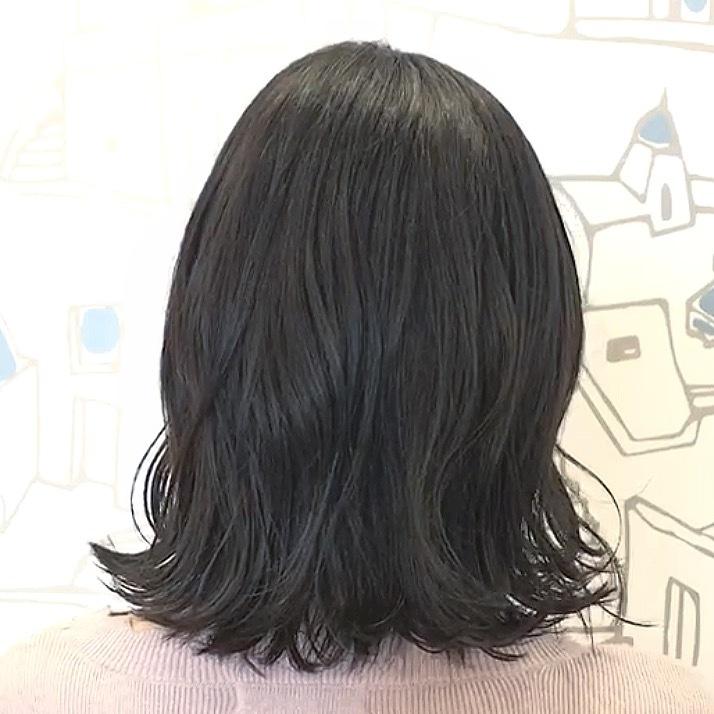 黒髪なのに透明感溢れる〈アッシュブルー〉ヘアカラー!♡_1_2