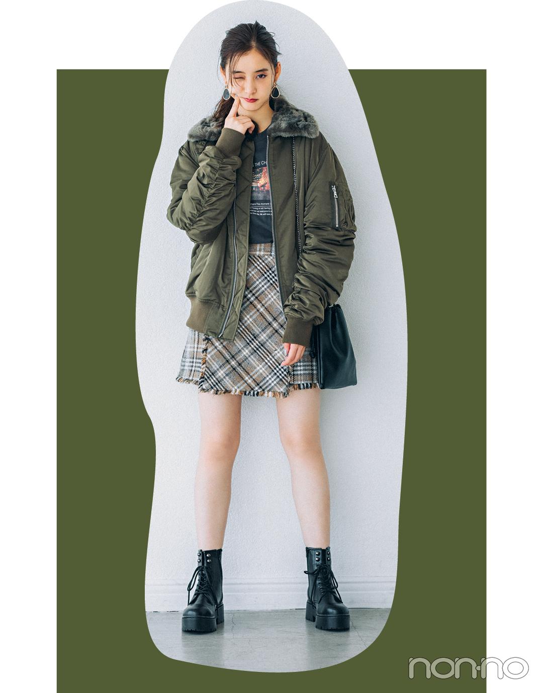 新木優子はミリタリーカーキをほんのり甘く♡ 4コーデを一気見!【今日のコーデはブラウン以外】_1_2
