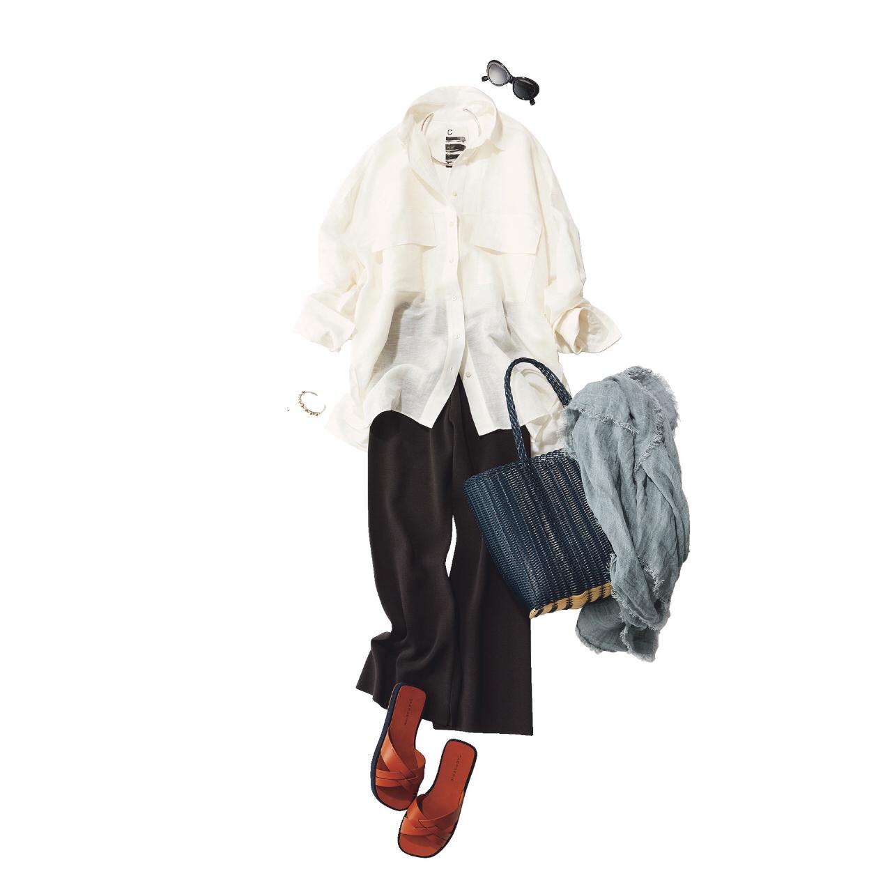 「ストール」でアラフォーの夏コーデをブラッシュアップ! 冷房対策にもおしゃれにも効くストールの取り入れ方  40代ファッション_1_7