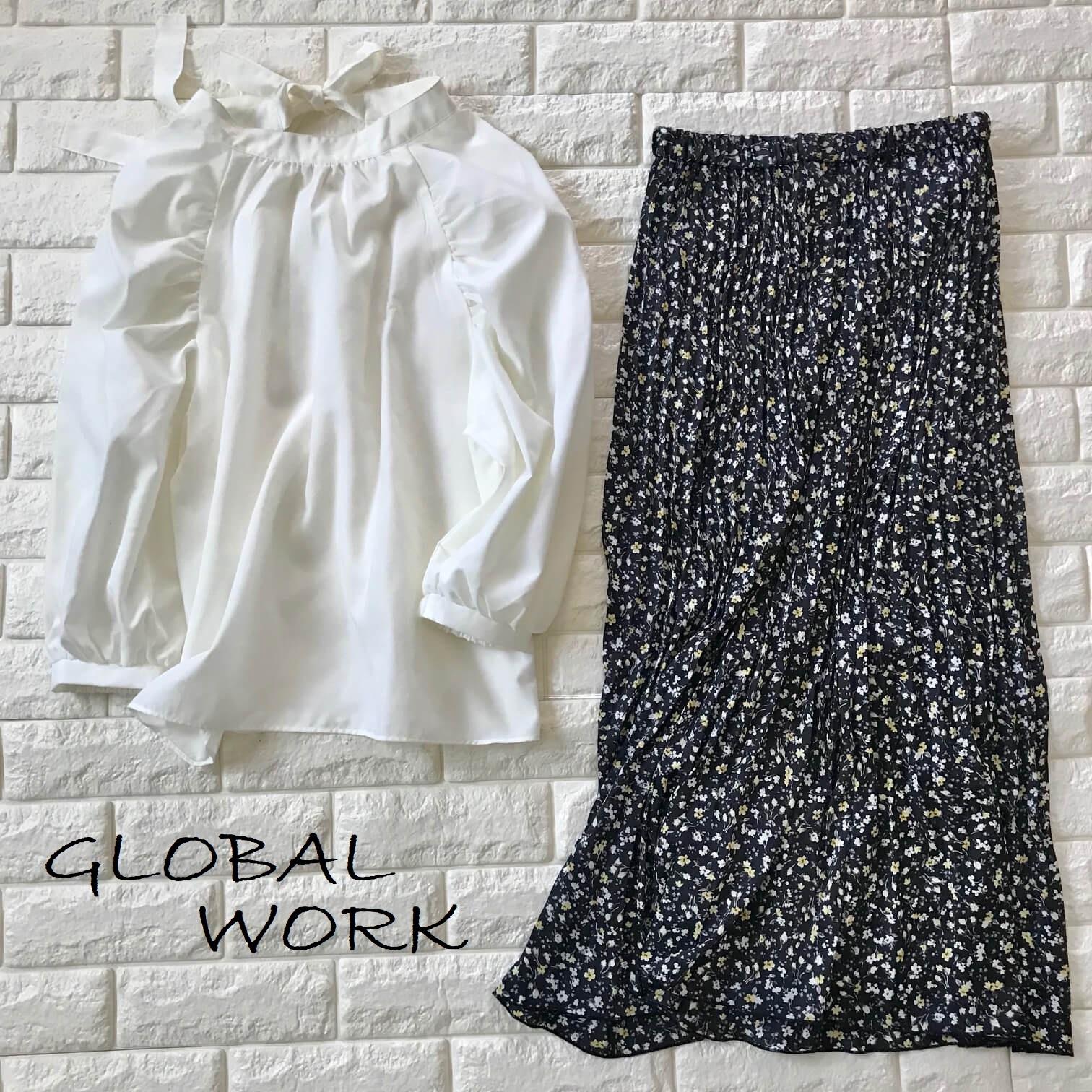 グローバルワークのブラウスと花柄スカートの画像