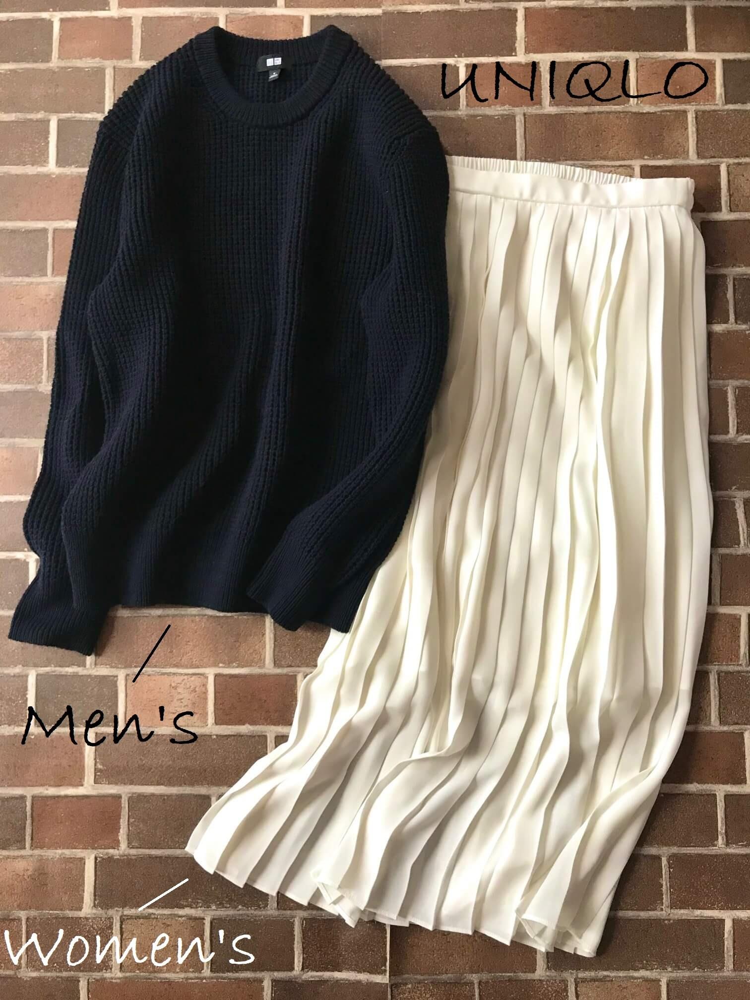 ユニクロのメンズのワッフルセーターと白のプリーツスカート