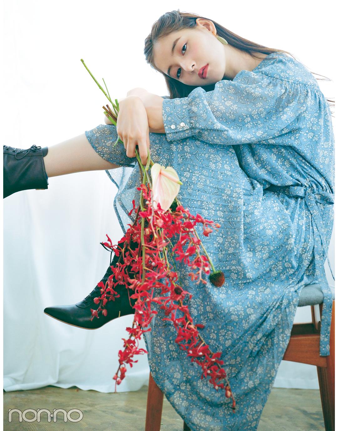 新木優子×新しいこと始まる秋服。「花柄ワンピはヴィンテージなムードで」_1_3