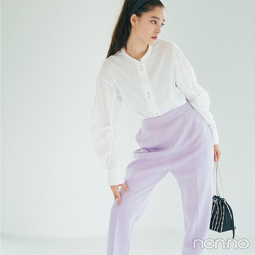 新木優子は注目カラー、くすみラベンダーで大人の可愛げ♡【大学生の毎日コーデ】