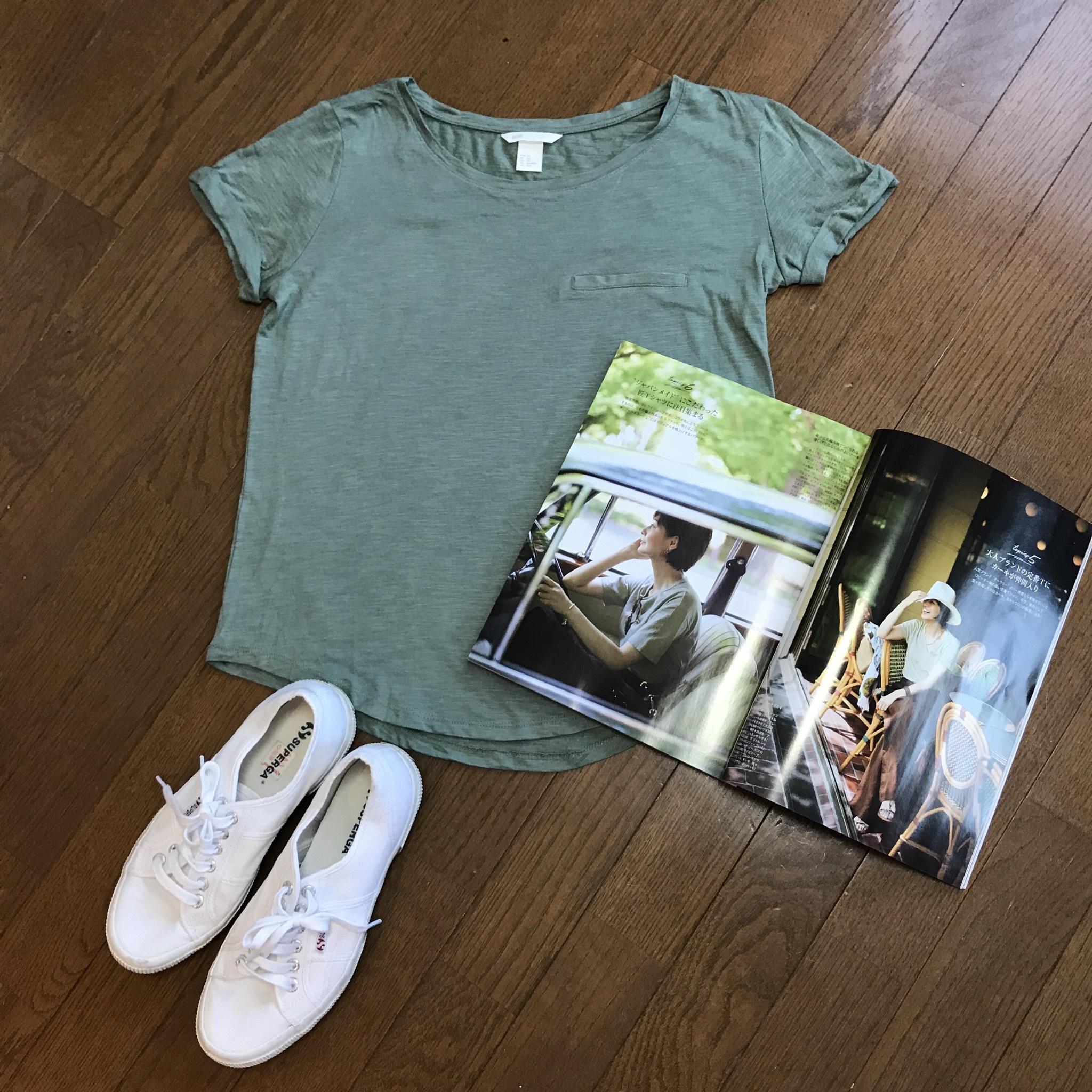 私の大人カーキTシャツ_1_1