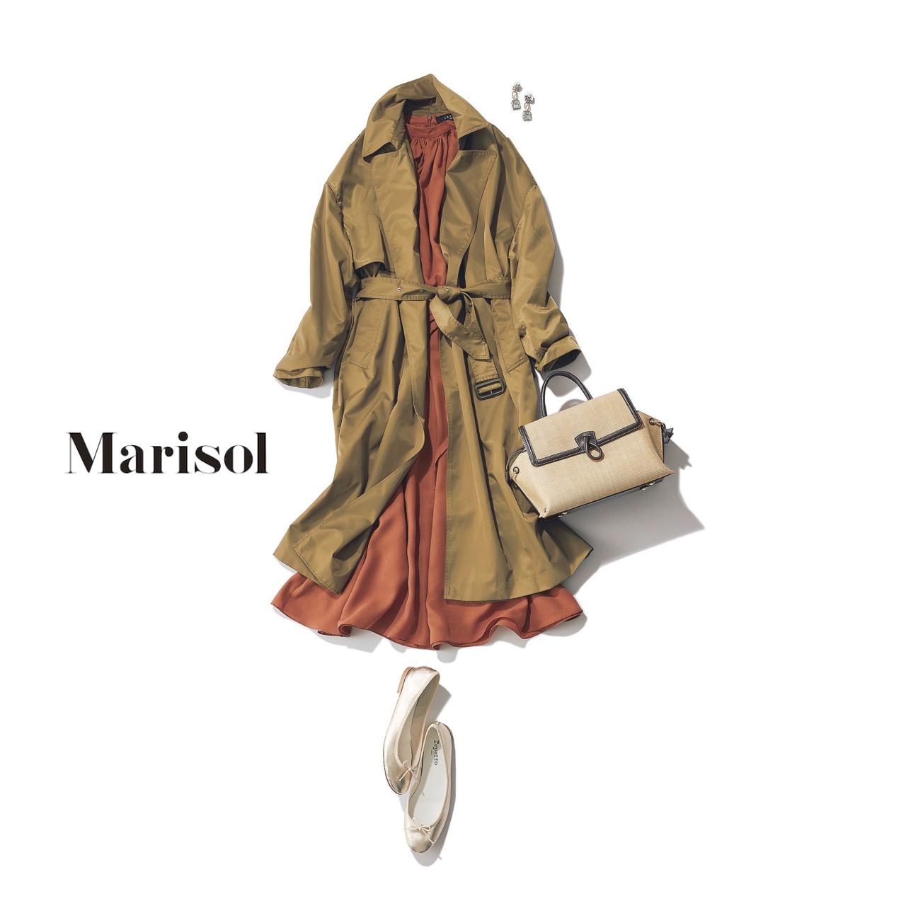 40代ファッション カーキトレンチコート×クラシカルワンピースコーデ