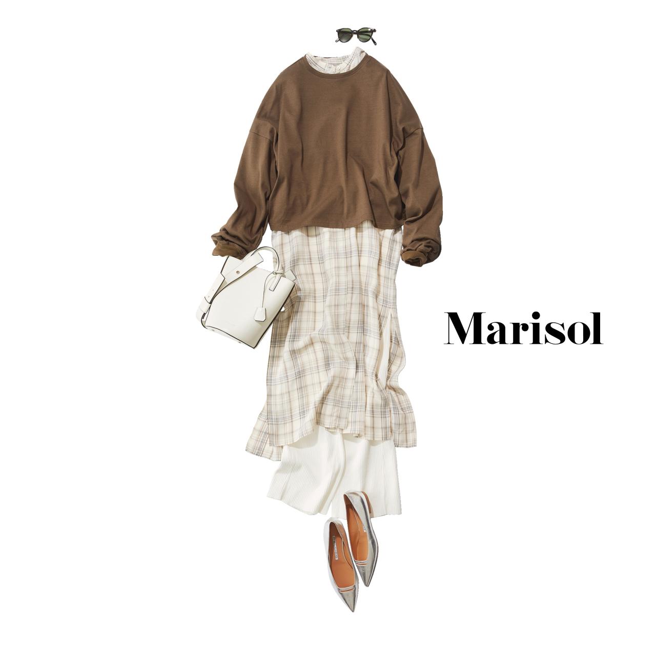 40代ファッション ワンピース×スウェット×パンツコーデ