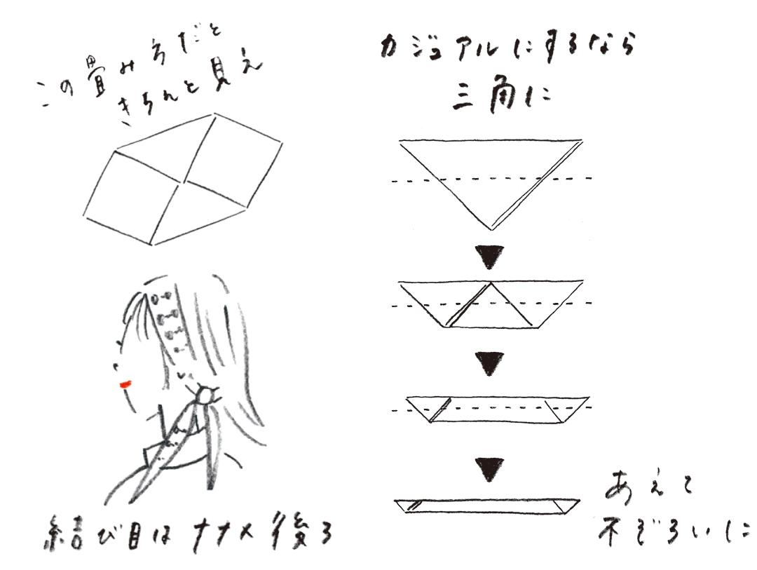 この畳み方だときちんと見え 結び目はナナメ後ろ カジュアルにするなら三角に あえて不ぞろいに