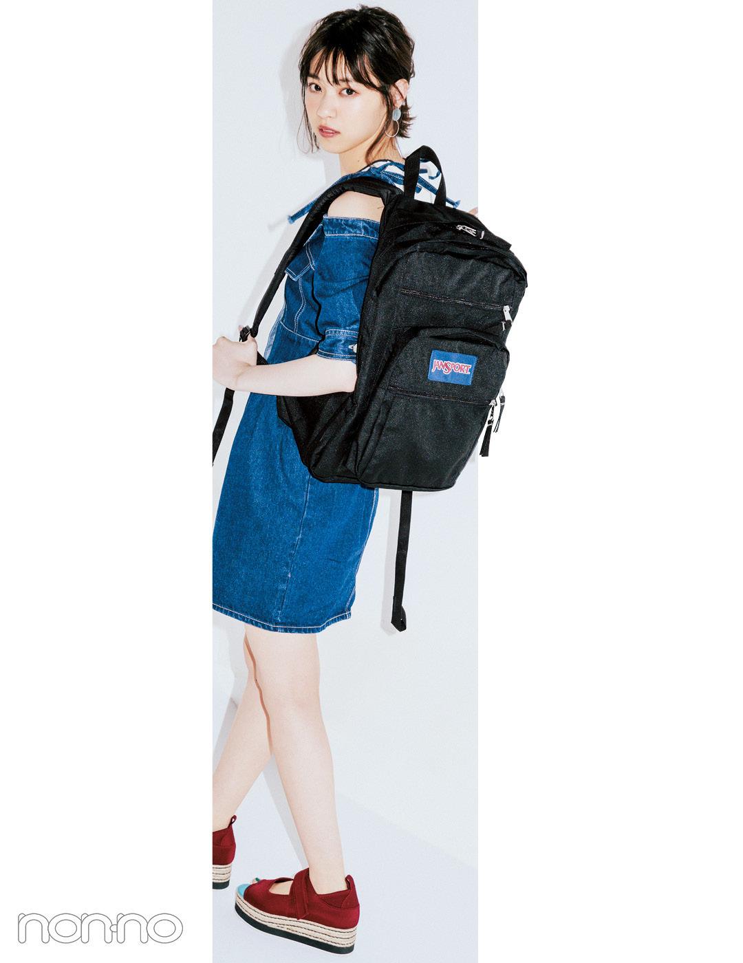 【夏のデニムコーデ】西野七瀬は、メンズっぽデザインで肌見せコーデをヘルシーに。