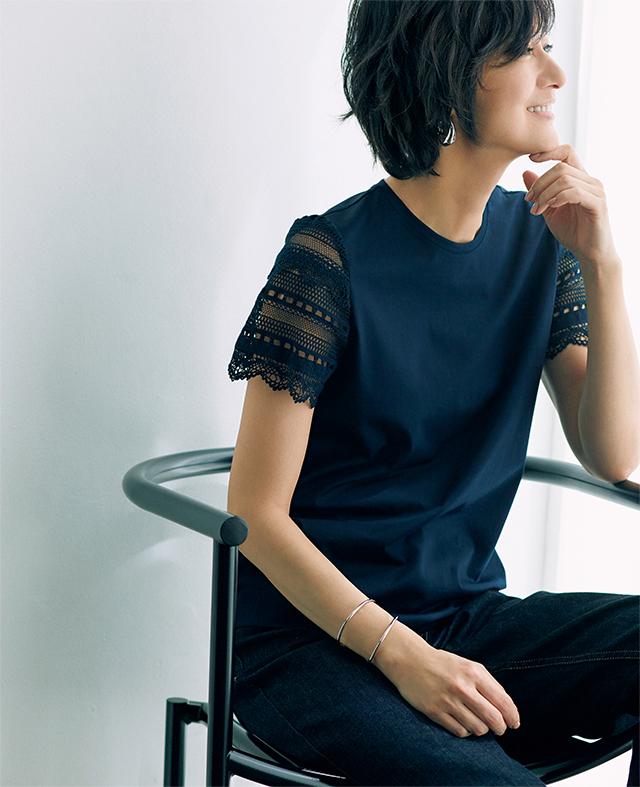 【Feminine T-shirt】レースの袖でTシャツもぐっとおしゃれな味わいに