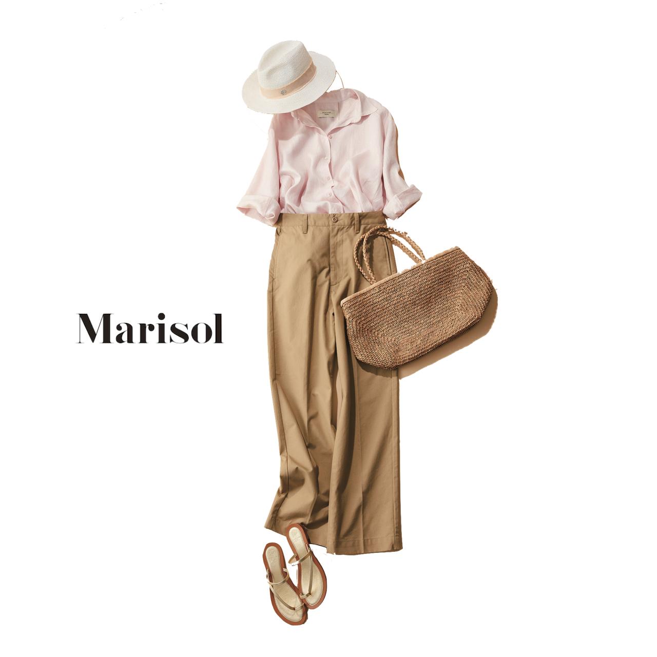 ピンクのリネンシャツ×ベージュパンツコーデ