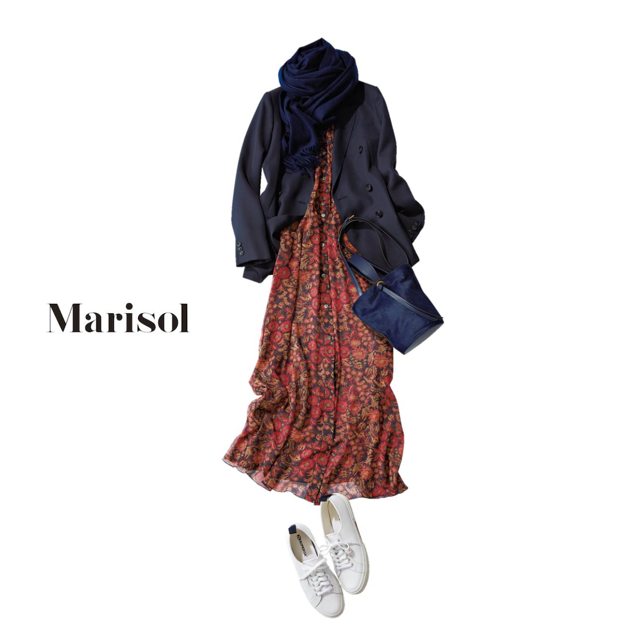 花柄ワンピース×ジャケットコーデのファッションコーデ
