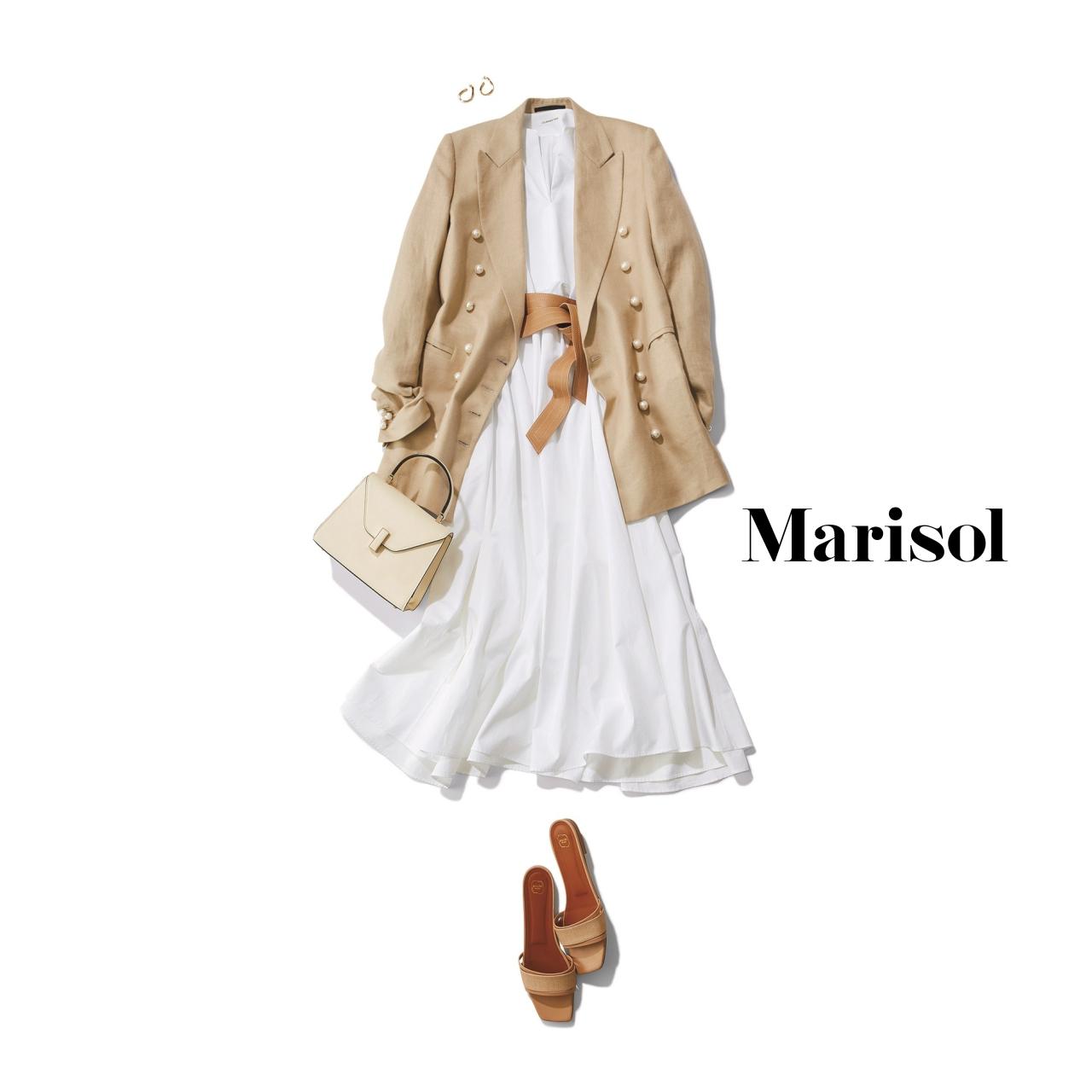 40代ファッション 白ワンピース×ベージュジャケットコーデ