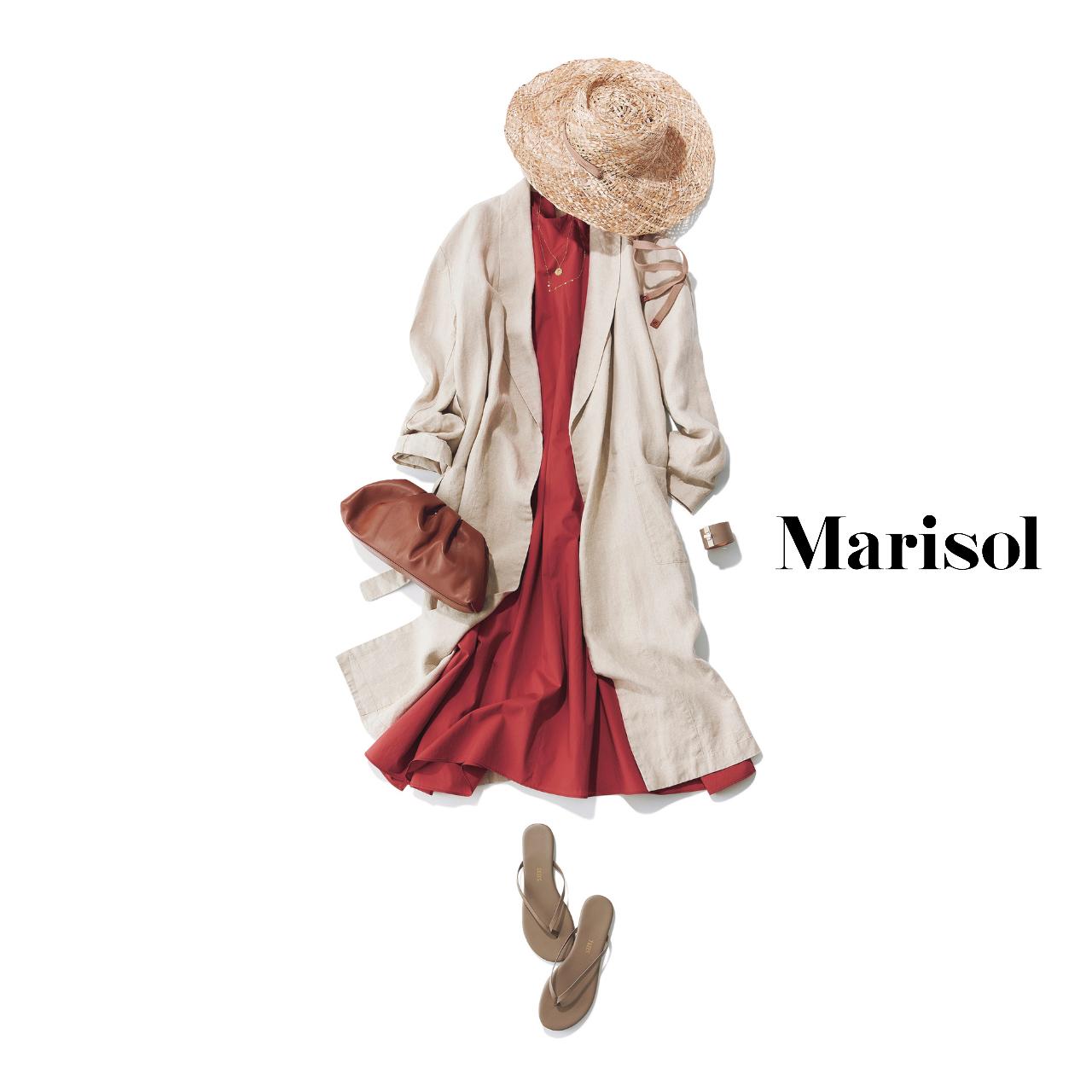 40代ファッション  レッドワンピースバッツベージュコートコーデ