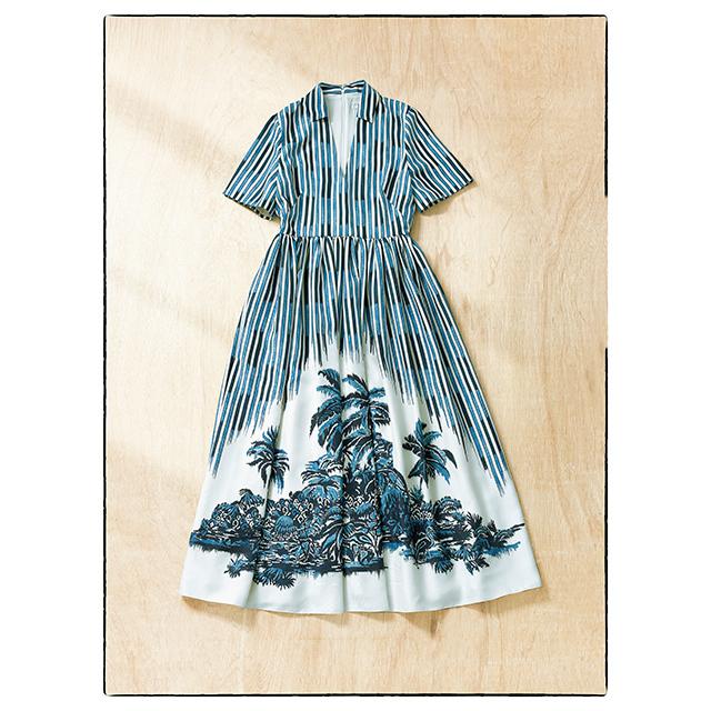 ディオールの シルクプリントドレス 「ディオール パームズ」