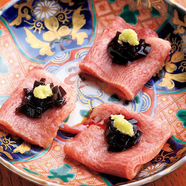 京都市役所前にある和食レストラン「京洛肉料理 かなえ」のタン刺し