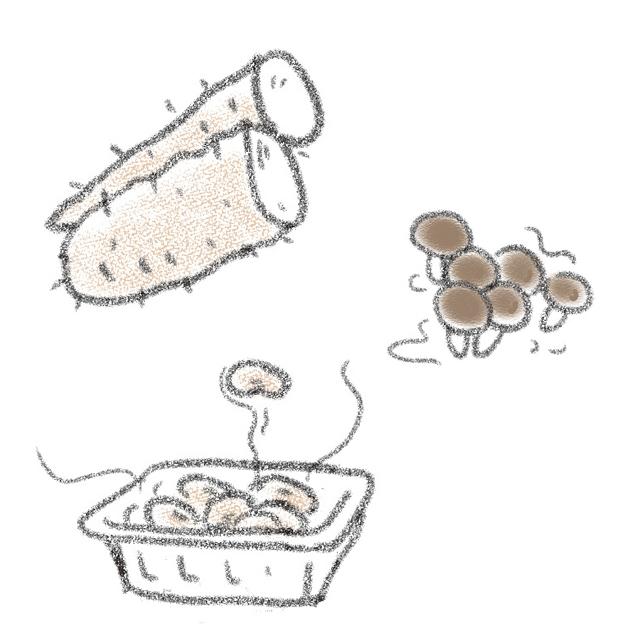 ネバネバ食材(納豆、山いも、なめこなど)