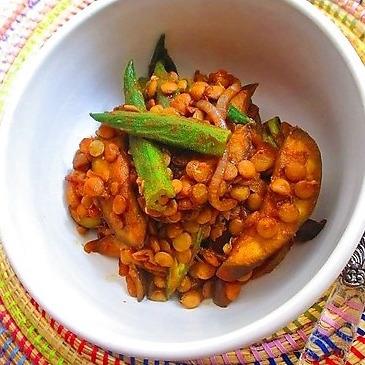 夏野菜ですっきりヘルシー♪レンズ豆のカレー炒めレシピ_1_1