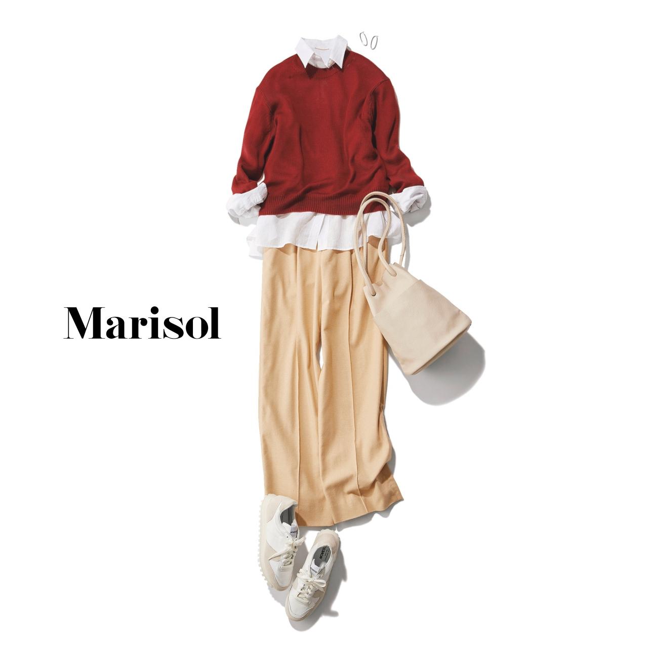 40代ファッション 白シャツ×赤ニット×チノパンツコーデ
