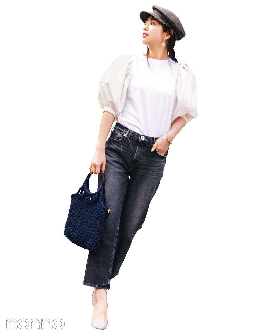 横田真悠が着るスタイルアップするCAROLINA GLASERのパワショルTシャツコーデ21