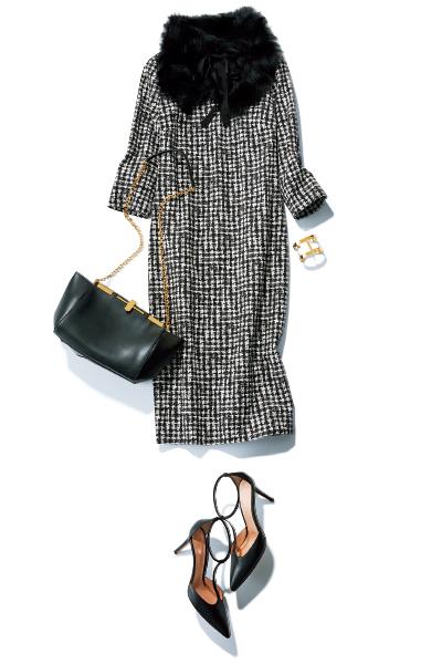 ファーティペットが主役のドレスアップスタイル