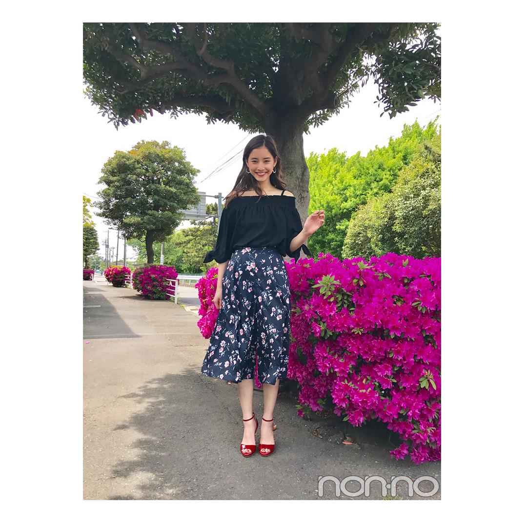 毎日コーデ★優子が着こなす花柄ネイビーガウチョの大人っぽワントーンコーデ_1_1