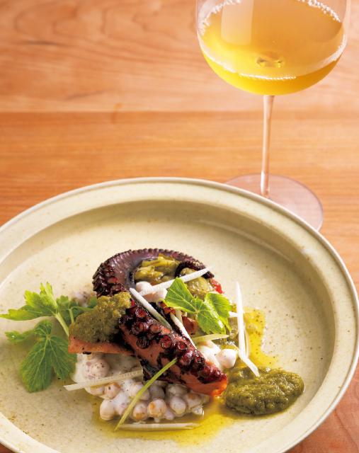 真蛸のオイル煮とひよこ豆