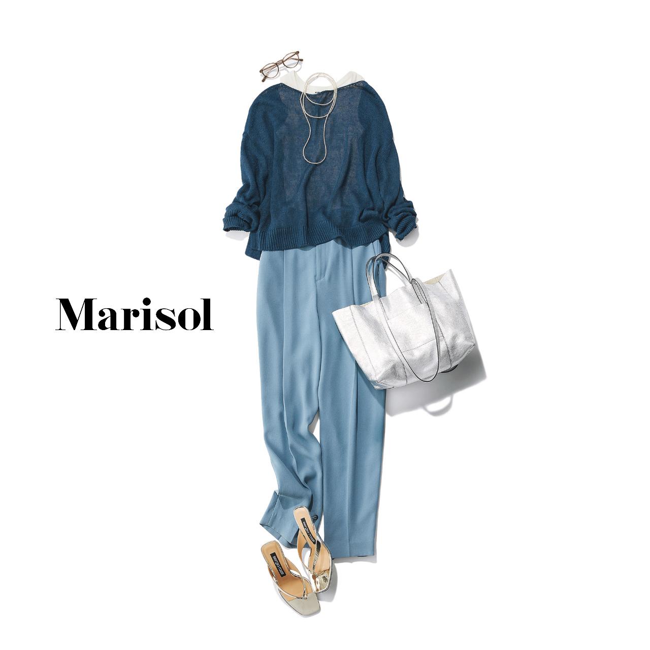 40代ファッション  ブルーニット×ブルーパンツ コーデ