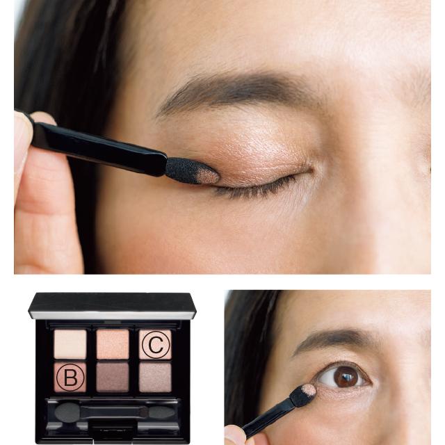 二重幅に締め色、下まぶたは輝き色を使って、明るく立体的な目もとに