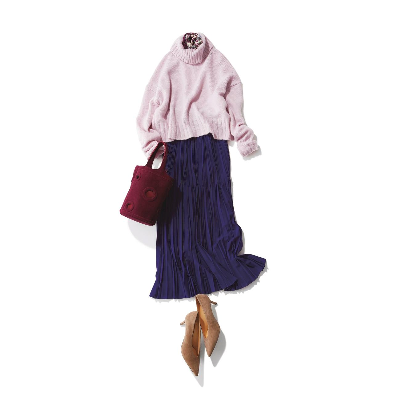パープルニット×パープルのプリーツスカートのファッションコーデ