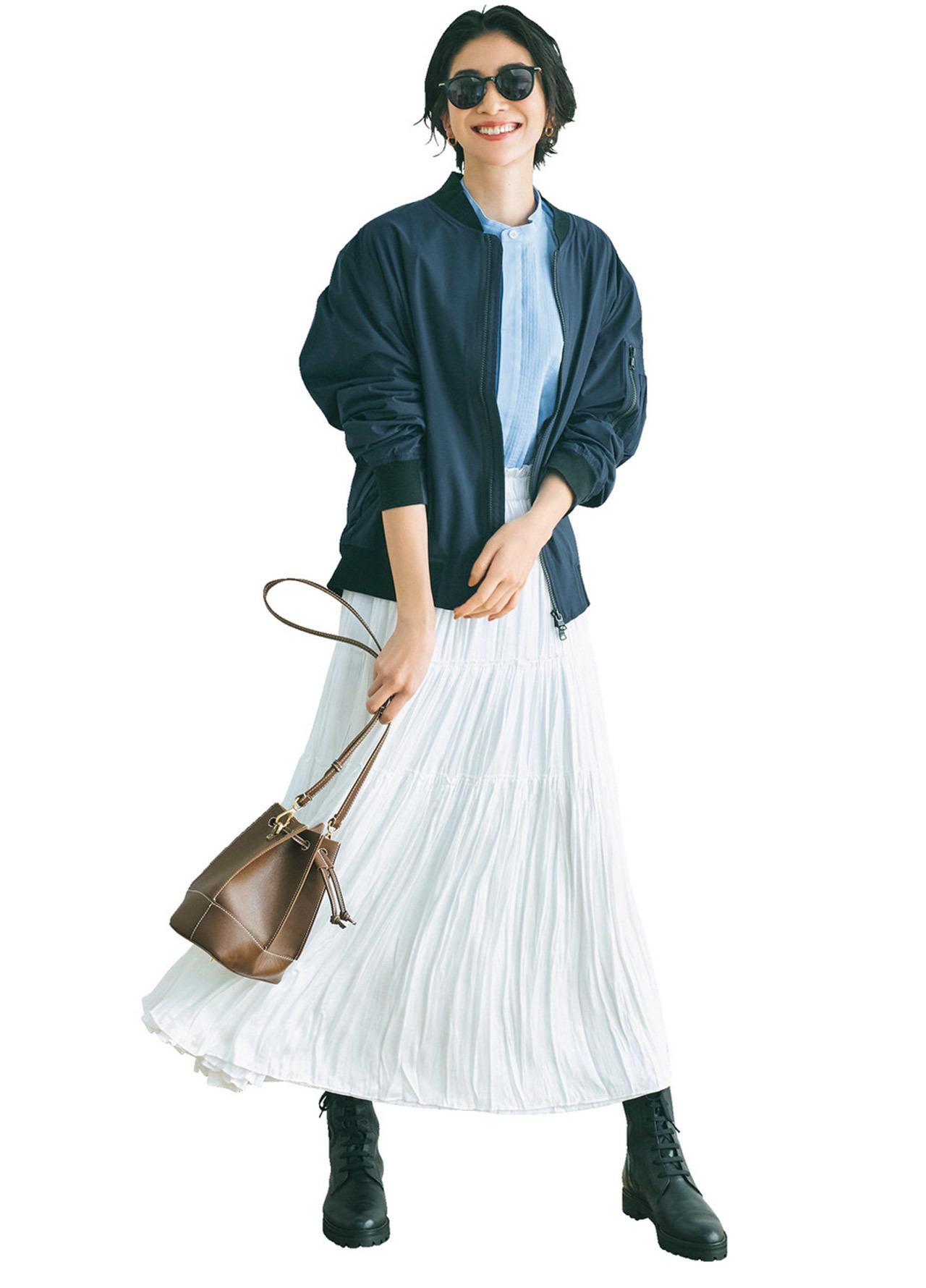 バンドカラーシャツ×スカートコーデ