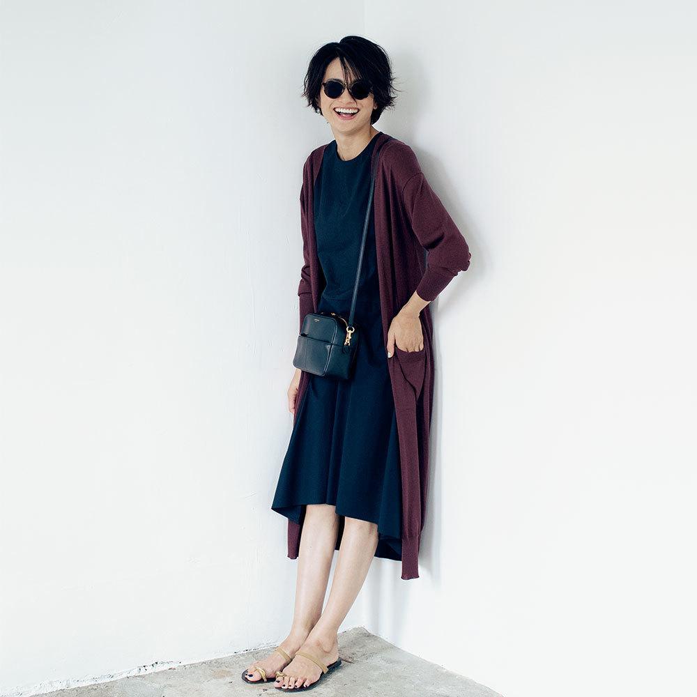 ファッション ロングカーディガン×ワンピースコーデ