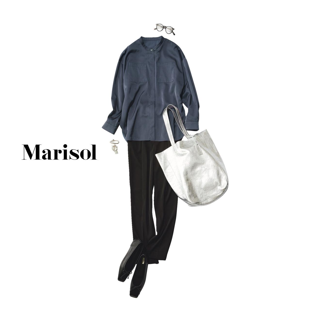 40代ファッション バンドカラーシャツ×黒パンツコーデ