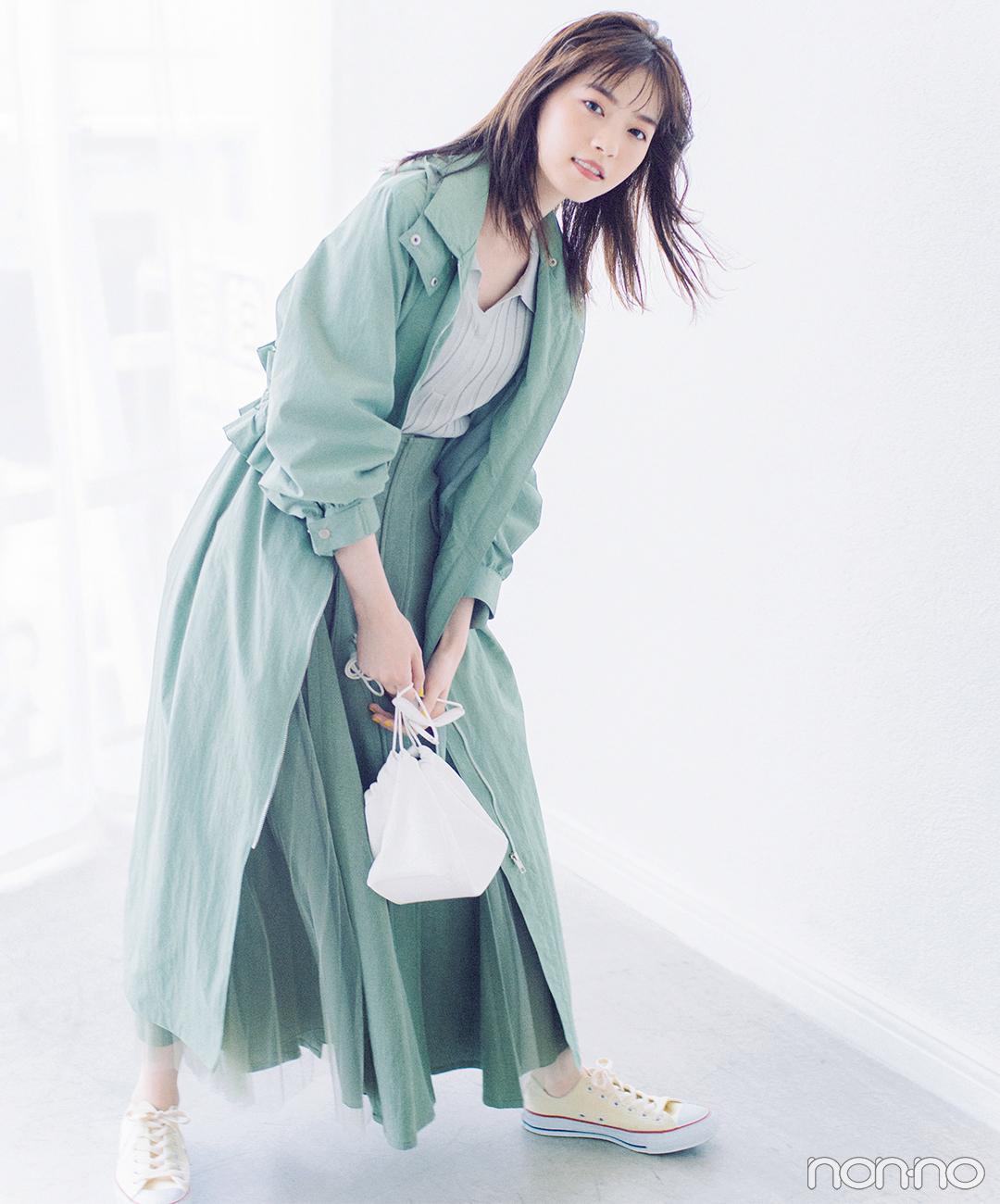 西野七瀬は旬のピスタチオグリーンで好感度フェミニン【毎日コーデ】