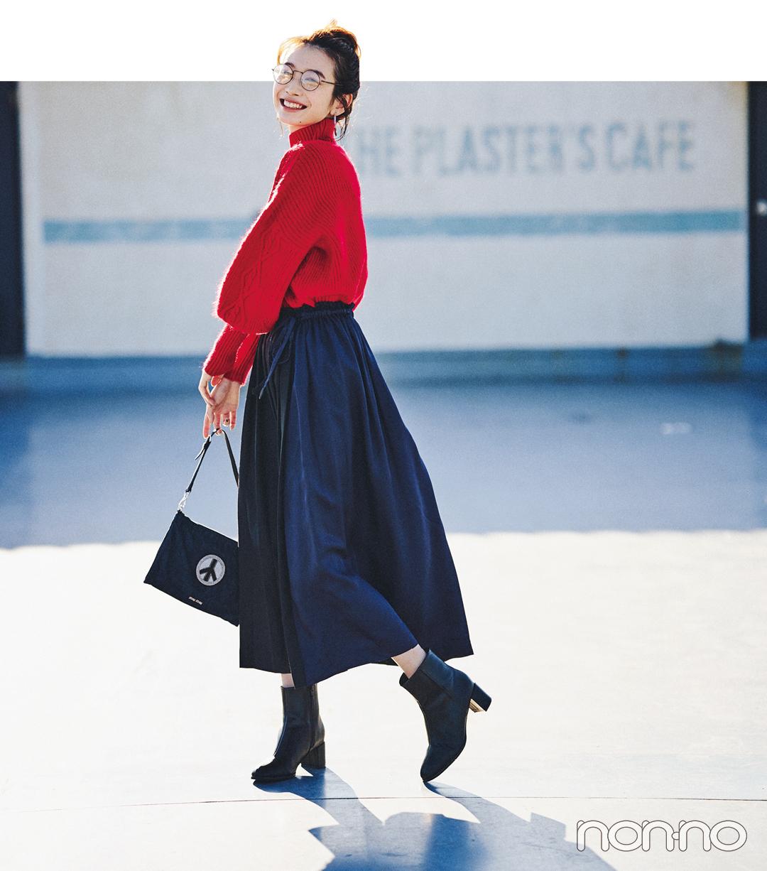 岡本夏美の冬私服♡ 赤ニットでパリジェンヌに_1_5