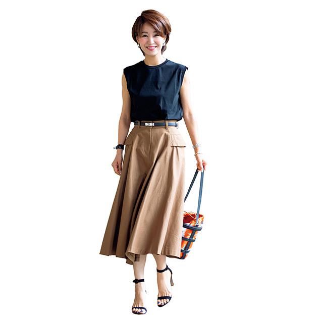 ロング丈で大人らしい上品な印象に!「Tシャツ×スカート」 五選_1_1-4