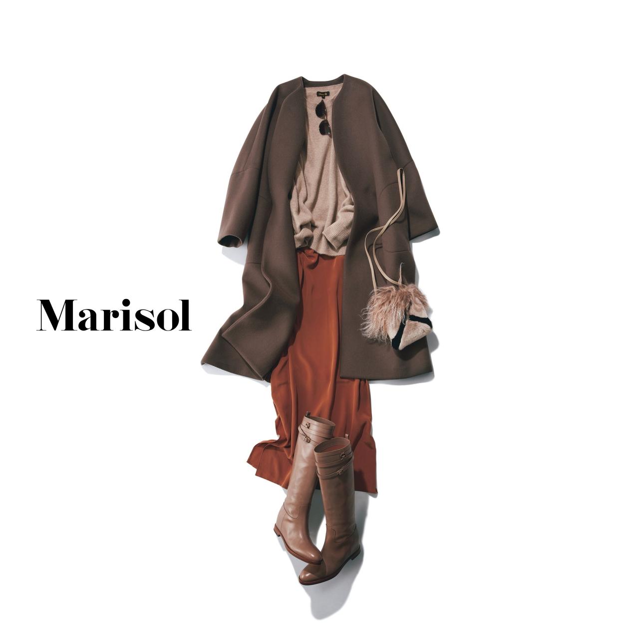 40代ファッション コート×ニット×キャミソールワンピース×ブーツコーデ