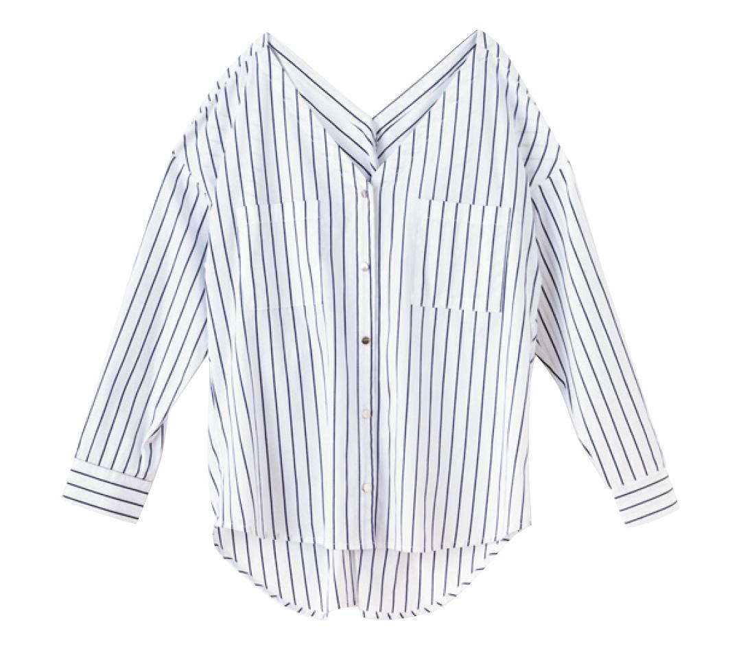 GUの名品も! 着るだけでスタイルアップ★ストライプシャツ!_1_3-1