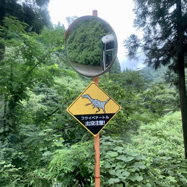 恐竜博物館からマイクロバスに乗って、かなり鬱蒼とした山奥に入っていきます…と、おかしな標識が!