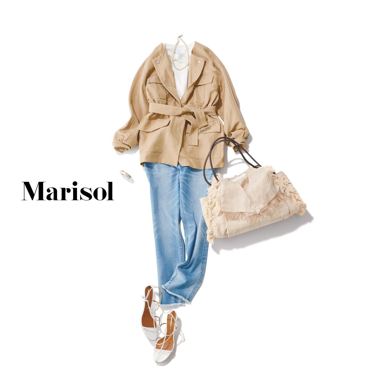 40代ファッション サファリジャケット×デニムパンツコーデ