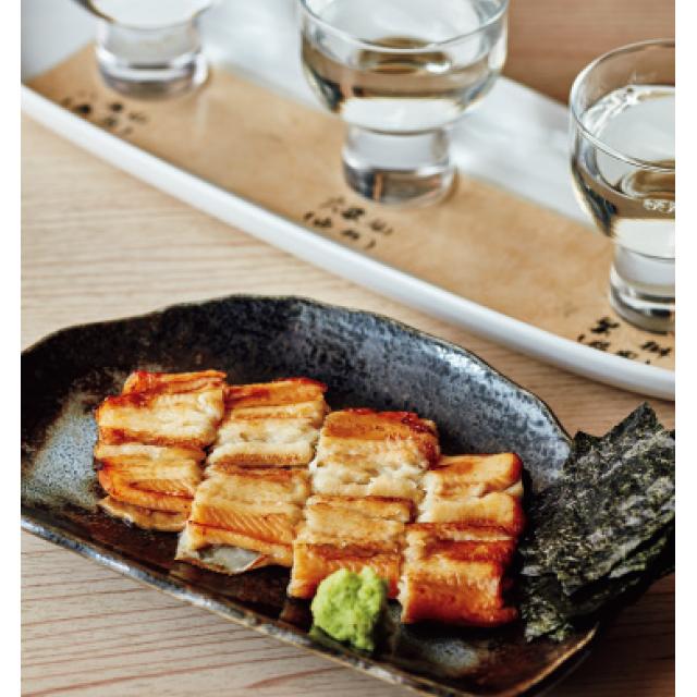 穴子の素焼きと日本酒3種飲みくらべ