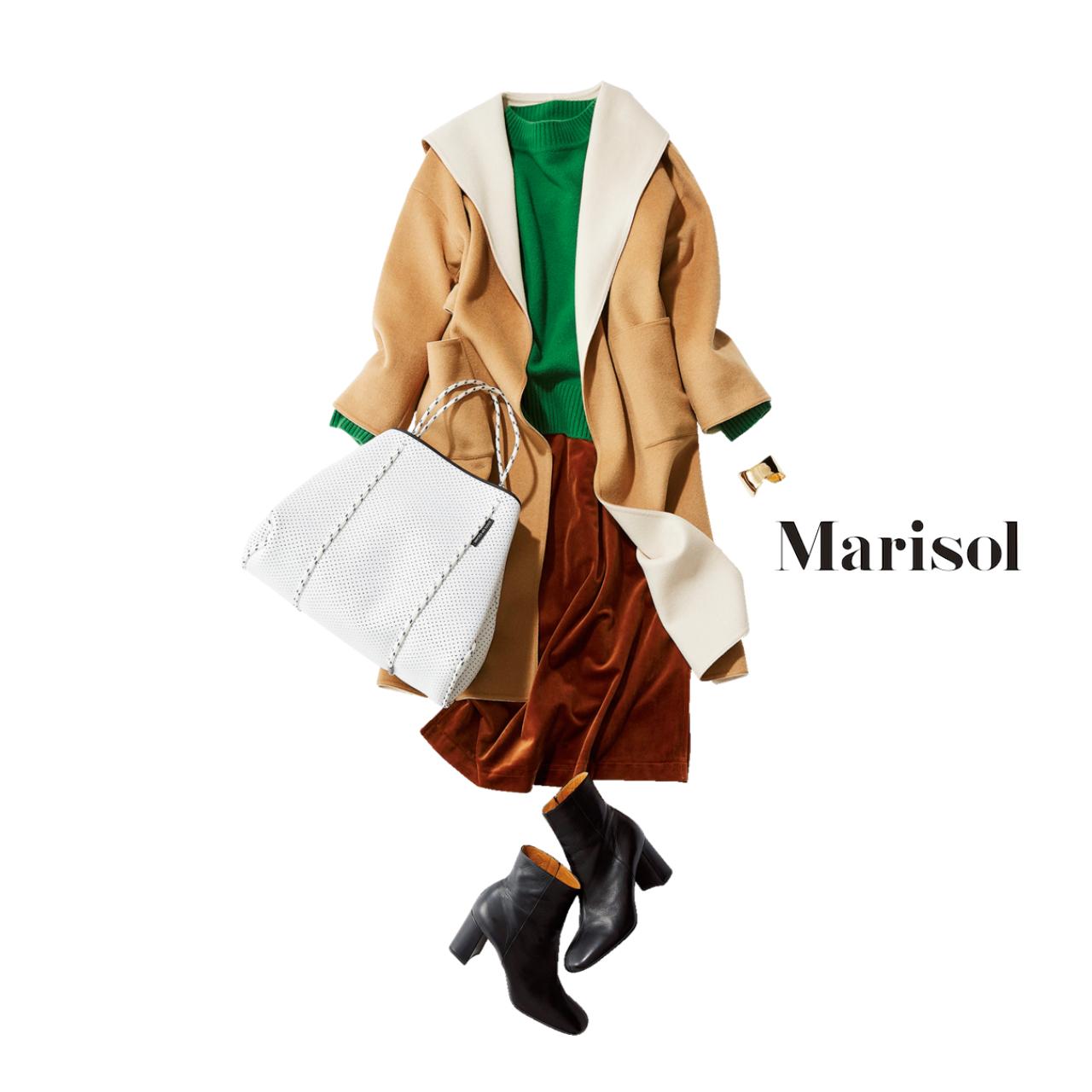 40代ファッション ベージュコート×グリーンニットコーデ