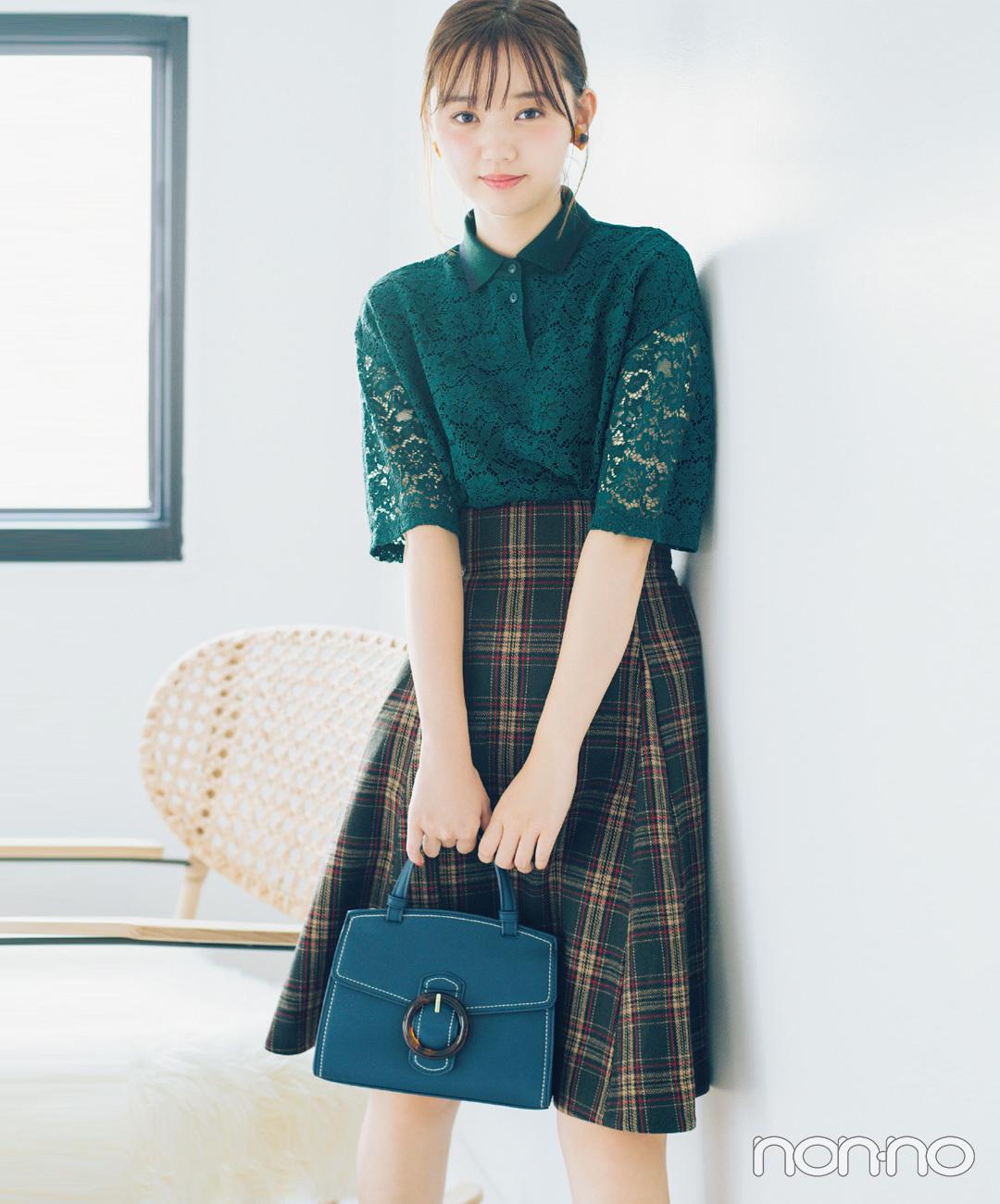 【タータンチェックコーデ】江野沢愛美は、シックなチェック柄のスカートをレースのポロシャツで、グッドガールに♪