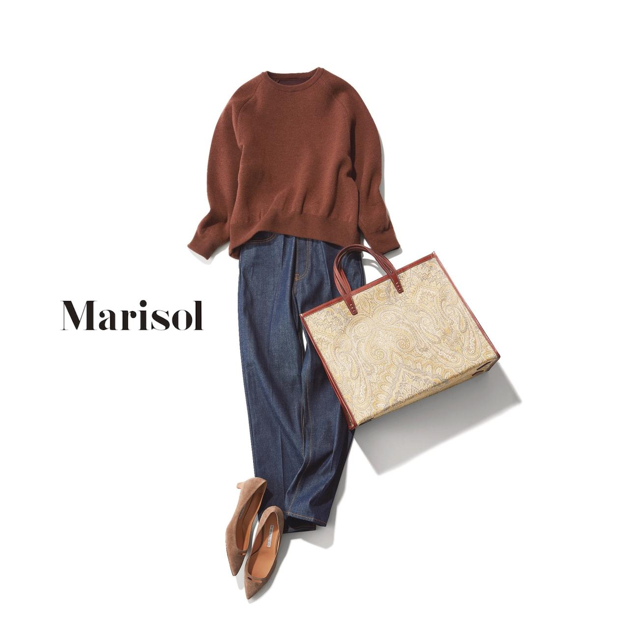 40代ファッション ブラウンニット×デニムパンツコーデ