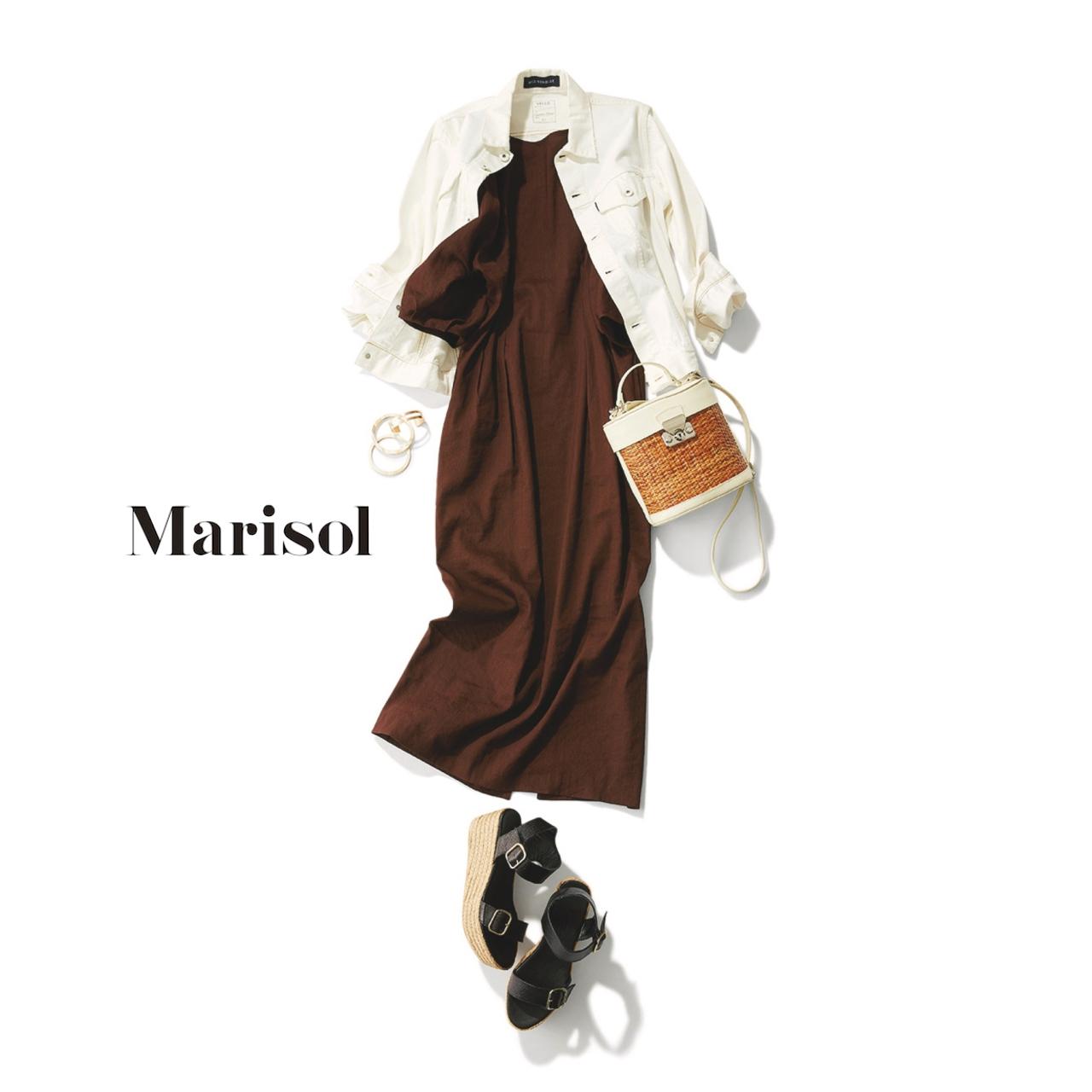40代ファッション 白デニムジャケット×ブラウンワンピースコーデ