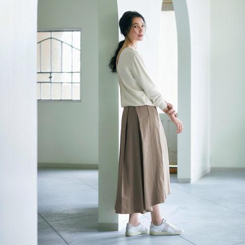 人気スカートをグレージュで別注! Jマダムを素敵に見せるタックフレアスカート_1_1