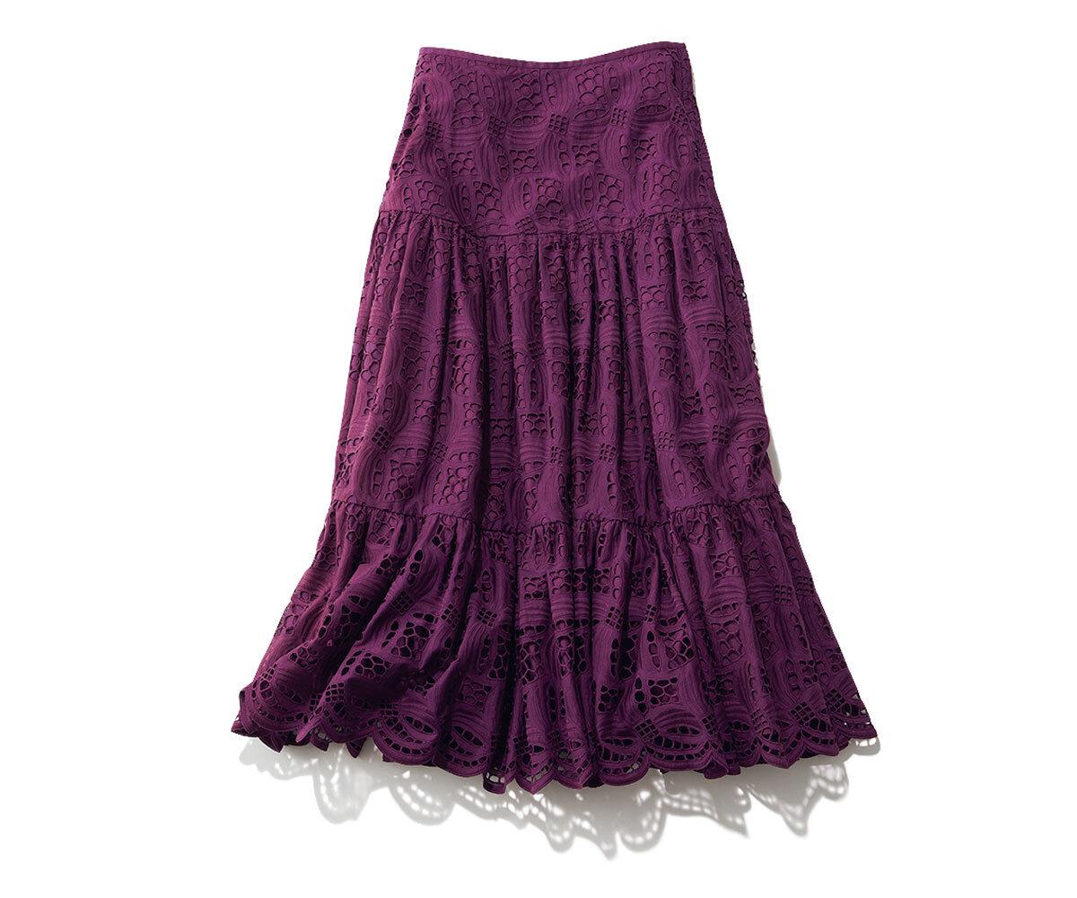Drawer パープルレーススカート