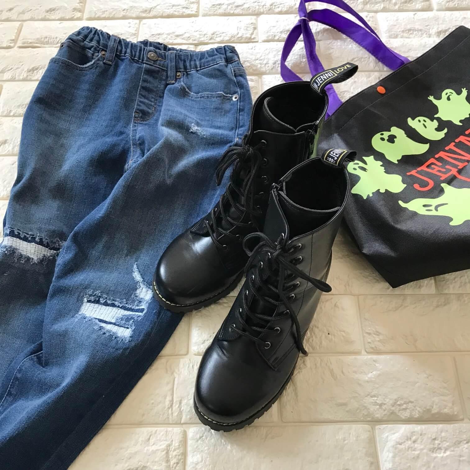 ジェニーラブのブーツとユニクロのキッズデニム画像