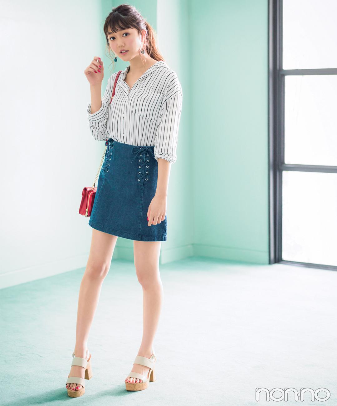 【夏のシャツコーデ】松川菜々花は、ミニスカートで脚長コーデ
