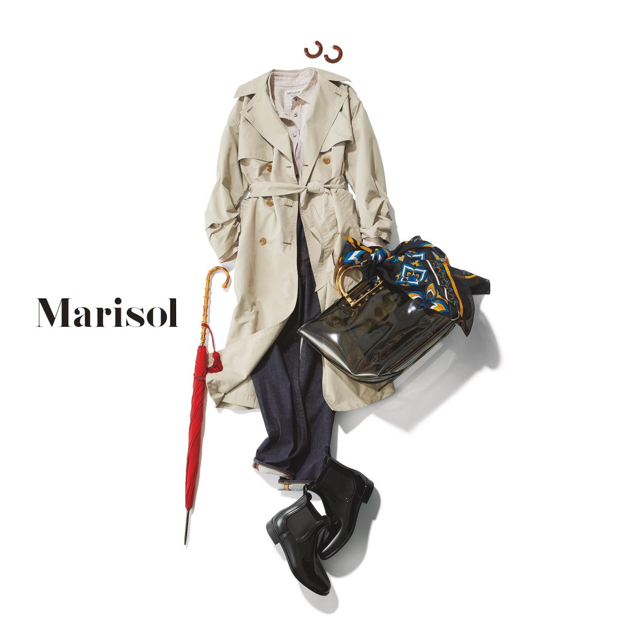 40代ファッション リネンシャツ×デニムパンツ×トレンチコートコーデ